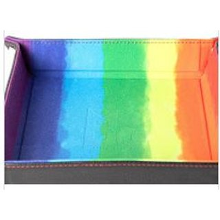 Velvet Dice Tray With Leather Backing (Rainbow)